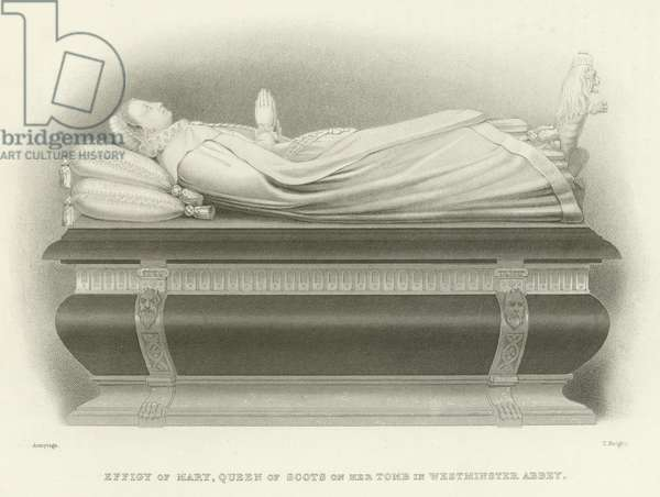 Effigy of Mary, Queen of Scots on her tomb in Westminster Abbey (engraving)