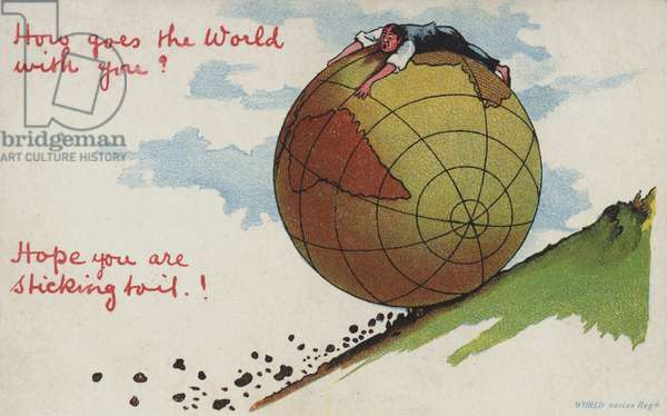 Globe rolling down a hill (colour litho)