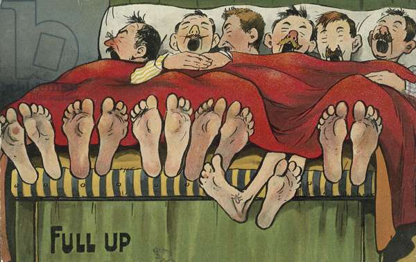 Six men sleeping in a bed (chromolitho)