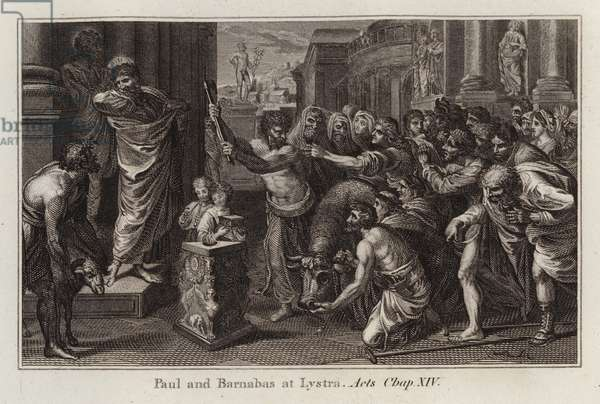 Raphael cartoon: Paul and Barnabas at Lystra, Acts, Chap XIV (engraving)
