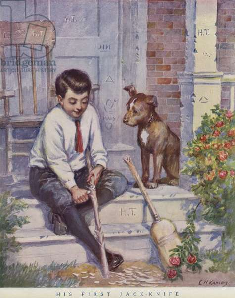 Boy carving a stick with his knife while his pet dog looks on (colour litho)