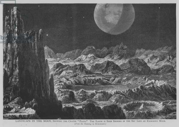 """Landscape in the Moon, Showing the Crater """"Plato"""", the Earth is Seen Shining in the Sky Like an Enormous Moon (engraving)"""