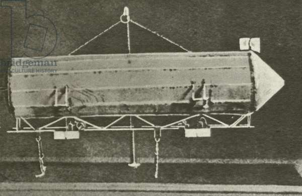 Model of the first Zeppelin airship (b/w photo)