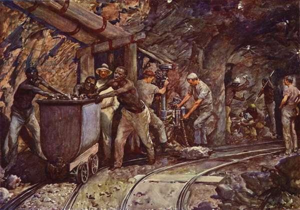 Kimberley diamond mines (colour litho)
