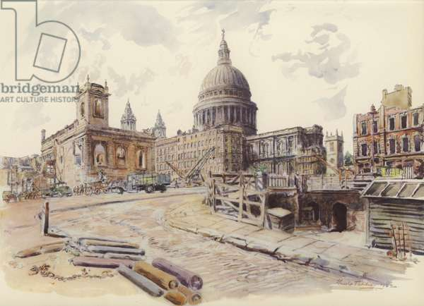 St Paul's from Queen Victoria Street (colour litho)