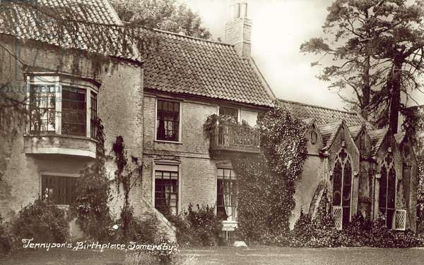 Birthplace of Alfred, Lord Tennyson, Somersby, Lincolnshire (b/w photo)