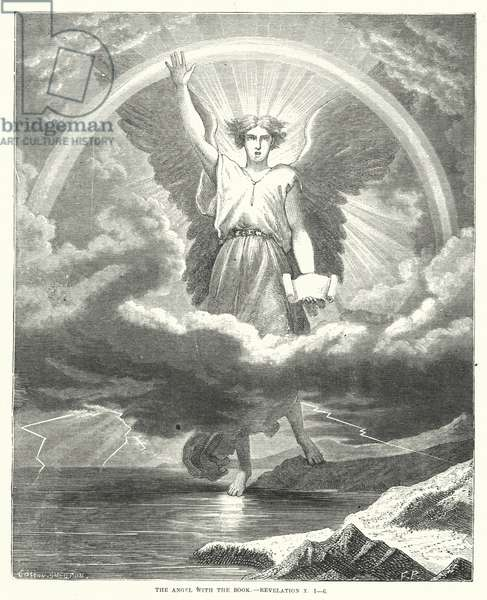 The Angel with the Book, Revelation X, 1-6 (engraving)