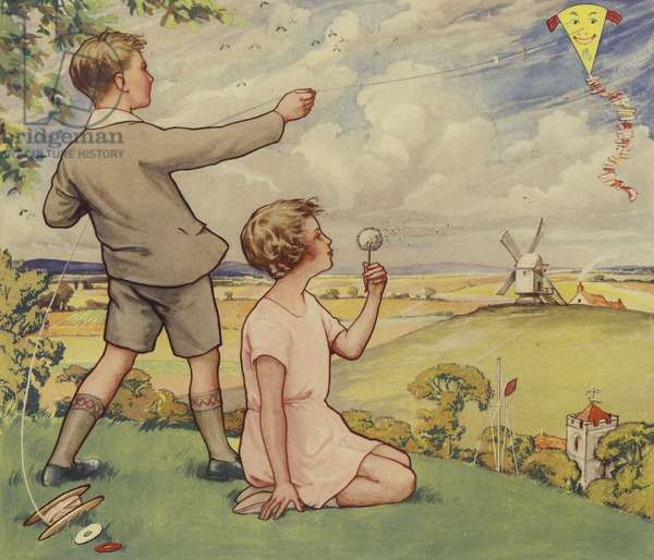 Boy and girl flying a kite (colour litho)