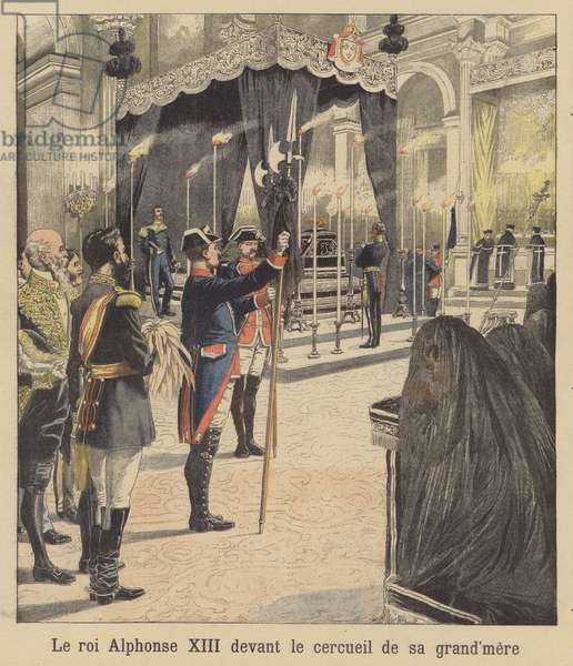 King Alfonso XIII of Spain before the coffin of his grandmother, Queen Isabella II (colour litho)