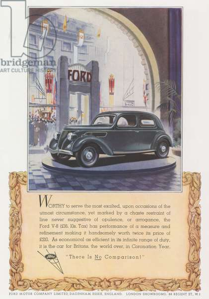 Advertisement for Ford V-8 (colour litho)
