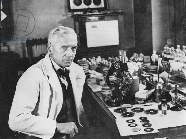 Sir Alexander Fleming, c.1944 (b/w photo)