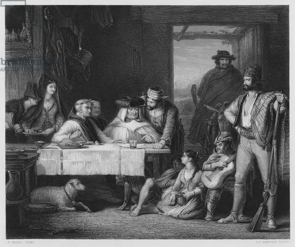 A Guerilla Council of War, in a Spanish Posado, the picture in the Royal Collection (engraving)