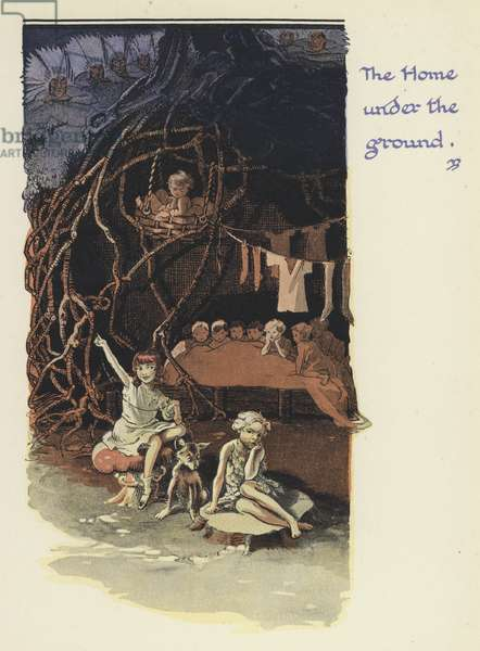 Peter Pan and Wendy: The Home under the ground (colour litho)