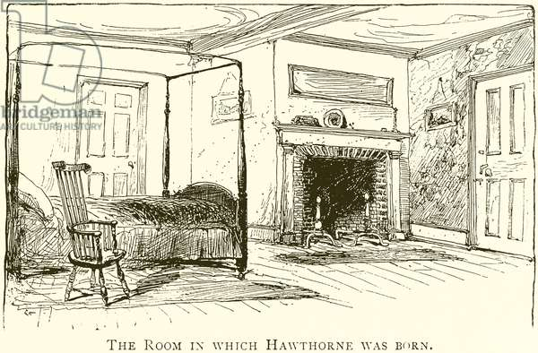 The Room in which Hawthorne was Born (engraving)