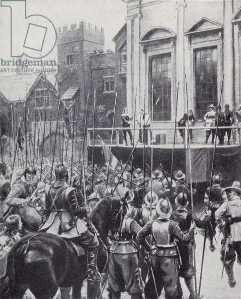 Execution of King Charles I outside the Banqueting House in Whitehall, London, 30 January 1649 (litho)