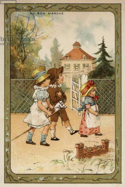 Children playing soldiers (chromolitho)