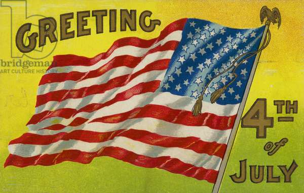 Greetings card for 4 July (colour litho)