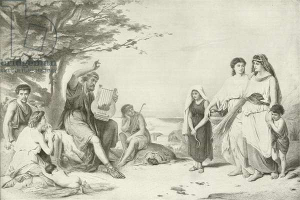 Homer reciting the Iliad (gravure)