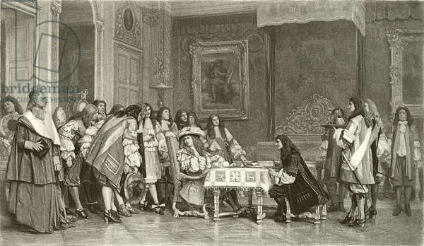 Moliere at breakfast with Louis XIV (gravure)