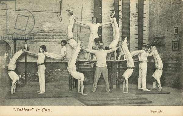 Tableau in a school gym (b/w photo)