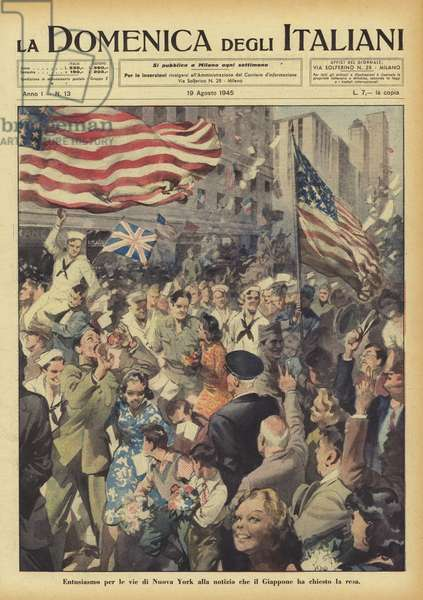 Enthusiasm in the streets of New York at the news that Japan has asked for surrender, 1945 (color litho)