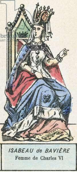 Isabeau de Baviere, Femme de Charles VI (coloured engraving)