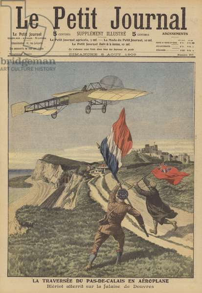 The first successful flight across the English Channel by aeroplane (colour litho)