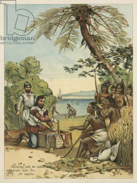 Columbus bartering with Native Americans for supplies (chromolitho)