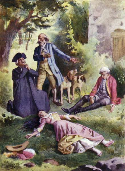 """""""Dead, dead!"""" said Patience, """"And there is the murderer!"""". Illustration for Mauprat by George Sand (colour litho)"""
