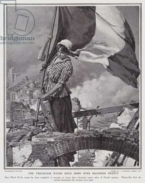 The Tricolour waves once more over regained France (litho)