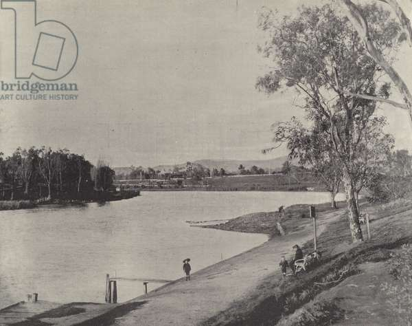 Torrens Lake, Adelaide (b/w photo)
