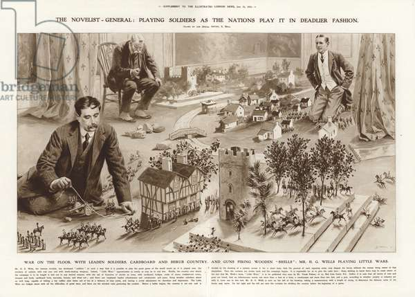 H G Wells wargaming, 1913 (litho)
