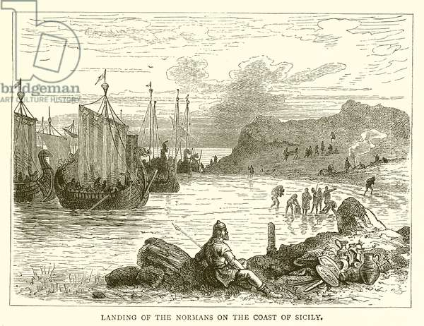 Landing of the Normans on the Coast of Sicily (engraving)