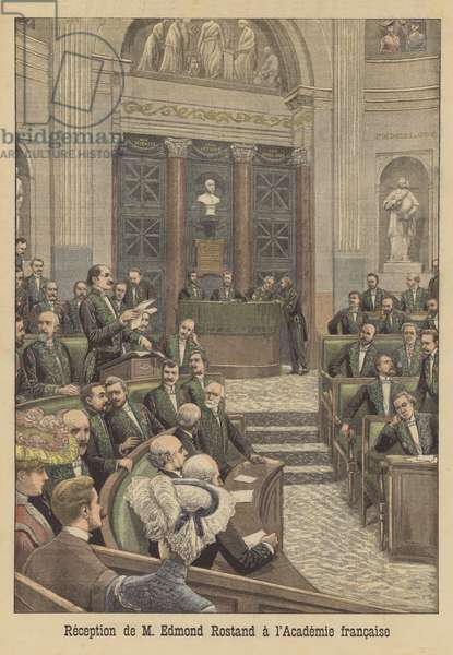 Edmond Rostand being received into the Academie Francaise (colour litho)