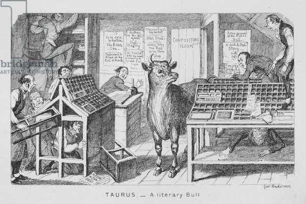Taurus, A literary Bull (engraving)