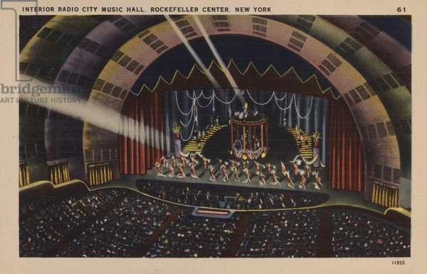 Interior, Radio City Music Hall, Rockefeller Center, New York (colour litho)