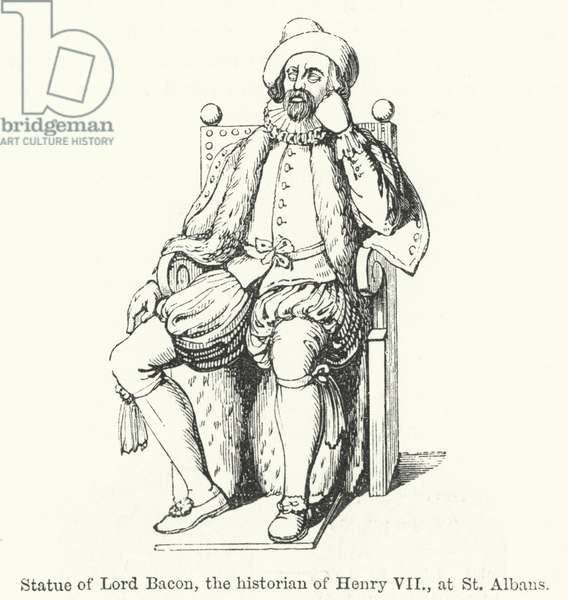 Statue of Lord Bacon, the historian of Henry VII, at St Albans (engraving)