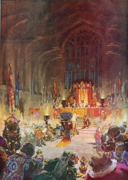 Coronation banquet of King Henry VIII (colour litho)