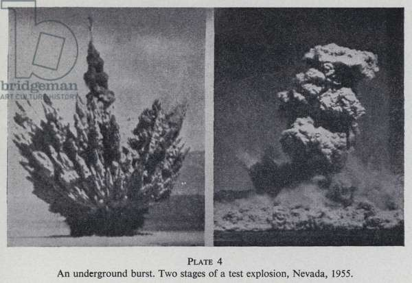 Two stages of the explosion from an American atom bomb test, Nevada, USA, 1955 (b/w photo)