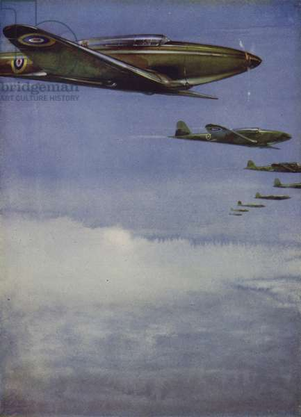 British Fairey Battle light bombers flying in formation (colour litho)