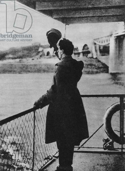 Trotsky going into exile, 1929 (b/w photo)