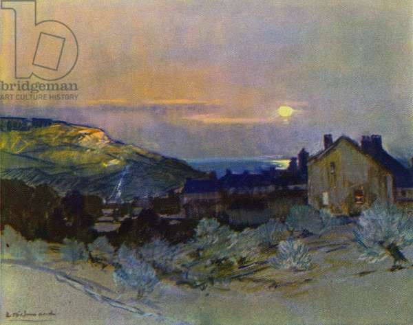 Winter Sunset, Devon (colour litho)