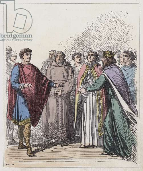 William of Normandy and Edward the Confessor (coloured engraving)
