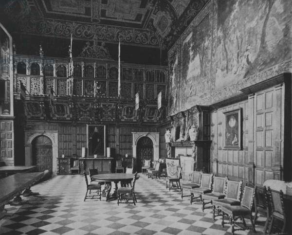 The Great Hall at Hatfield House (b/w photo)