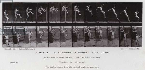 The Human Figure in Motion: Athlete, a running, straight high jump (b/w photo)