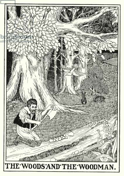 Fables of La Fontaine: The woods and the woodman (litho)