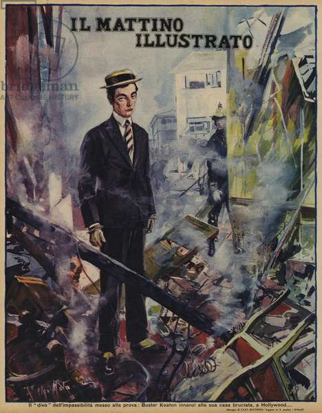 American comedian and film star Buster Keaton standing in front of his burned down house in Hollywood, California, USA, 1930 (colour litho)