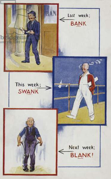 A man's three week journey from wealth to poverty (colour litho)