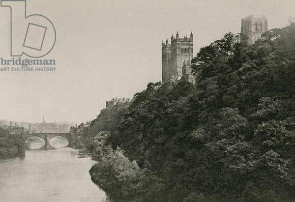Durham Cathedral, from the Prebend Bridge (b/w photo)