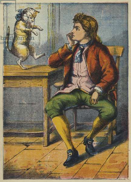 Puss Consoling the Miller's Son (colour litho)